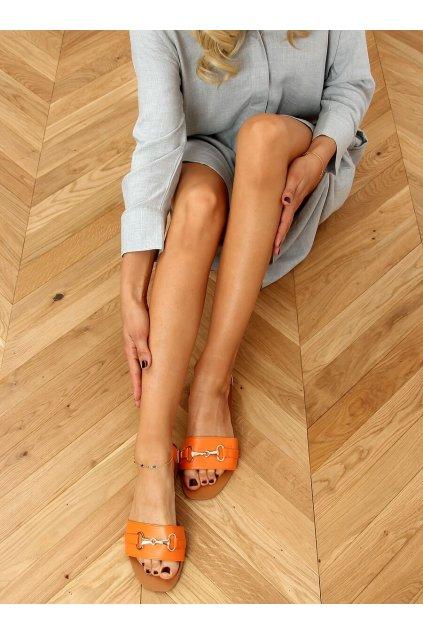 Damske šľapky oranžové N-109