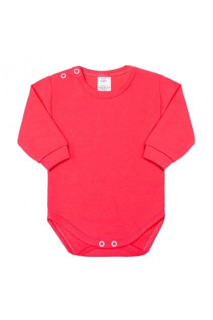 Dojčenské body s dlhým rukávom New Baby malinové
