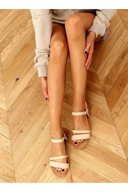 Dámske sandále hnedé na plochom podpätku X570