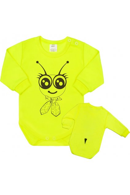 Dojčenské body s dlhým rukávom New Baby Zvieratko Včielka neonové