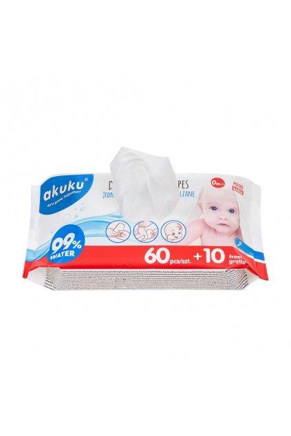 Detské vlhčené obrúsky Akuku 99% vody 60 + 10 ks ZDARMA