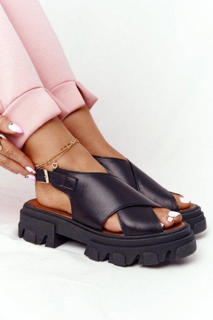 Dámske sandále na platforme farba čierna NJSK 3018-0 CZARNY MAT LICO