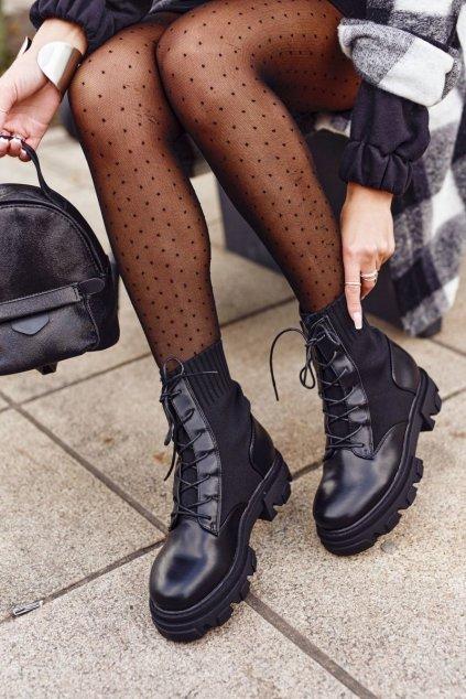 Členkové topánky na podpätku farba čierna kód obuvi NC1152 BLACK