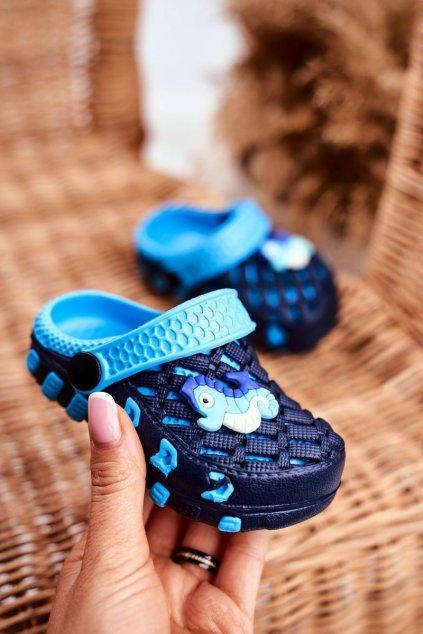 Detské šľapky farba modrá NJSK 6301 NAVY/BLUE