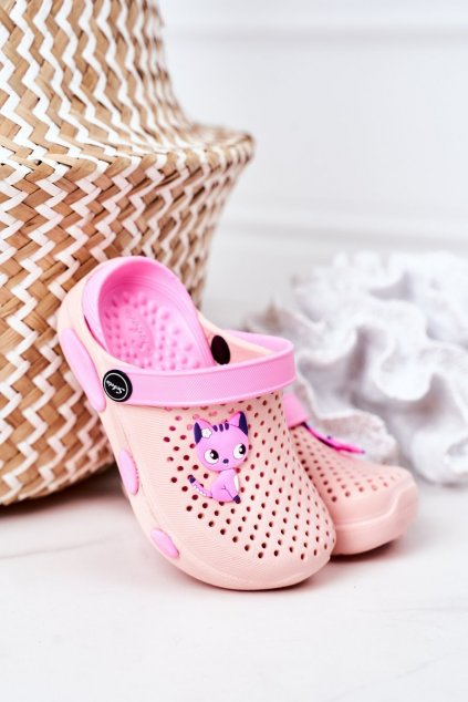 Detské šľapky farba ružová kód obuvi E7109 ALL PINK