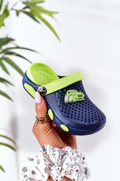 Detské šľapky farba modrá kód obuvi E7109 NAVY GREEN