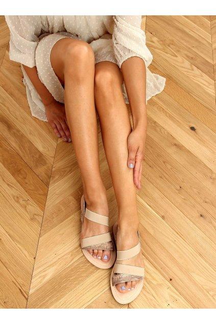Dámske sandále hnedé na plochom podpätku S060115