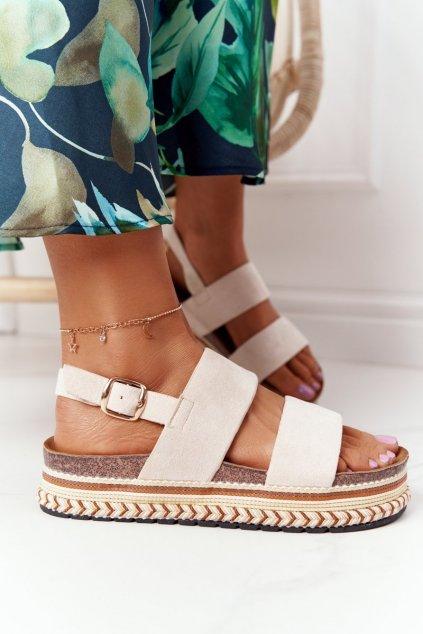 Dámske sandále farba hnedá NJSK 7857 BEIGE