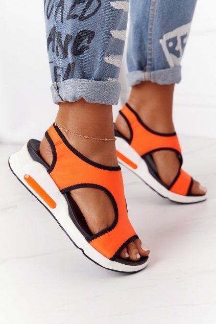 Dámske sandále farba čierna NJSK LS55606 ORANGE