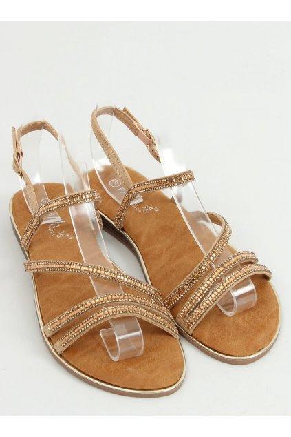 Dámske sandále s plochou podrážkou zlaté na plochom podpätku NJSK SM0023