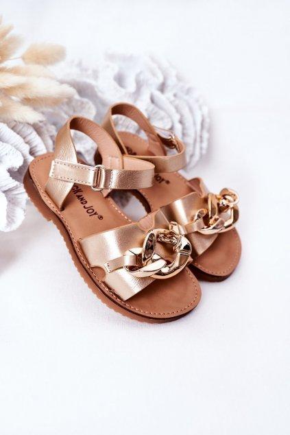 Detské sandále farba žltá NJSK 290-D GOLD