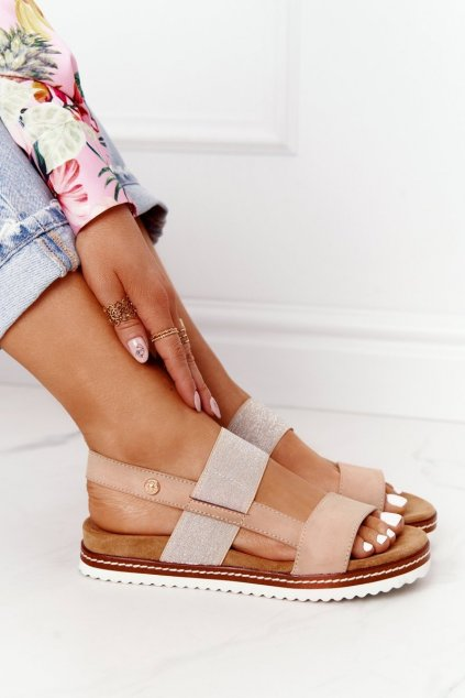 Dámske sandále farba hnedá NJSK 21SD-3582 BEIGE