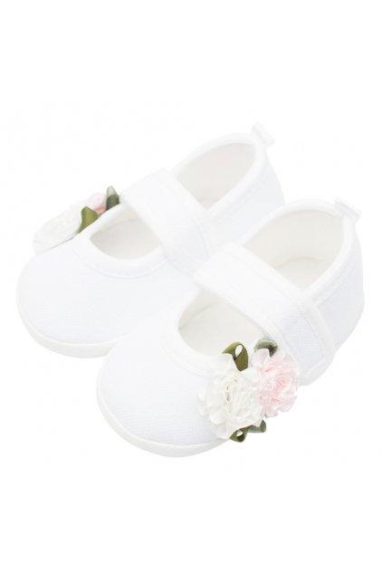 Dojčenské capačky New Baby Linen biele 0-3 m roses