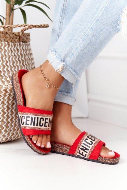 Dámske šľapky farba žltá kód obuvi 20SD10-2450 RED