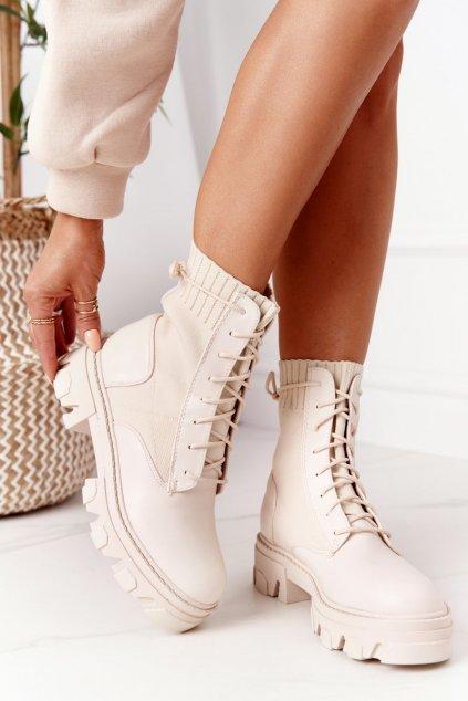 Členkové topánky na podpätku farba hnedá kód obuvi NC1152 BEIGE