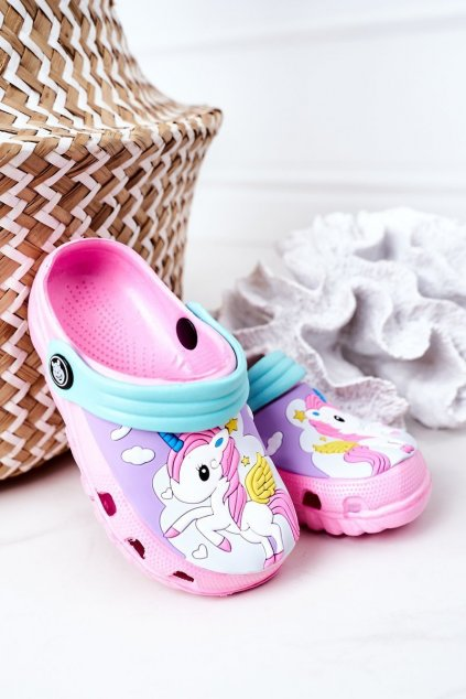 Detské šľapky farba ružová kód obuvi 8938CC PINK AQUA