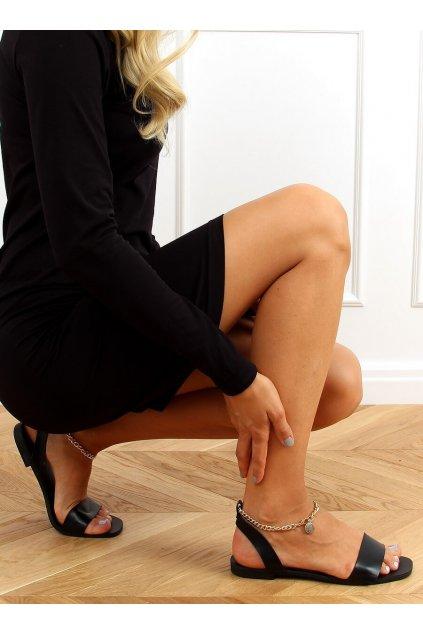 Dámske sandále čierne na plochom podpätku HY23-11