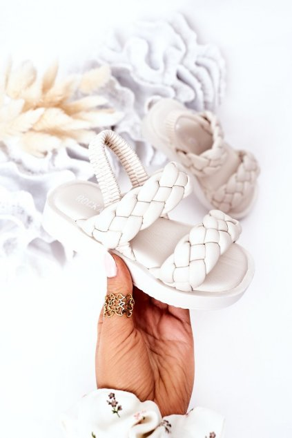 Detské sandále farba hnedá NJSK 285-C 286-C BEIGE/ WHITE