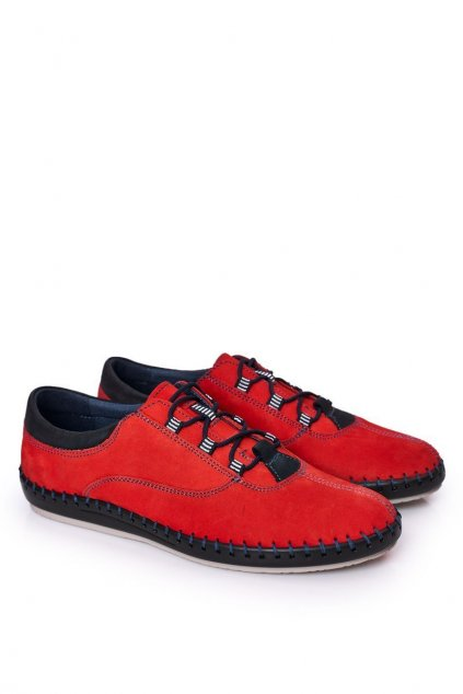 Pánske poltopánky farba červená NJSK 312 RED
