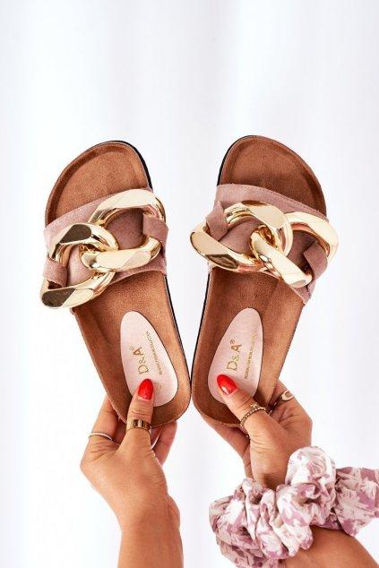 Dámske šľapky farba hnedá kód obuvi SB001 BEIGE