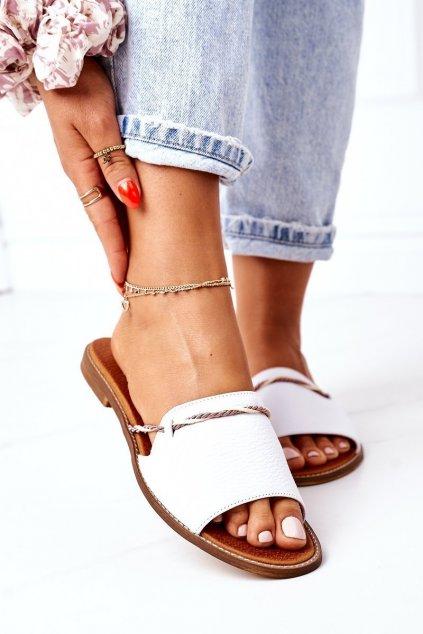 Dámske šľapky farba biela kód obuvi 3047 BIAŁY GROCH