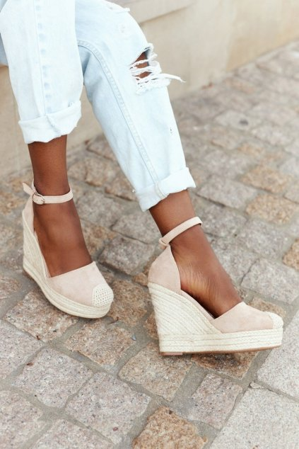 Dámske sandále na platforme farba hnedá NJSK BL1919-8 BEIGE