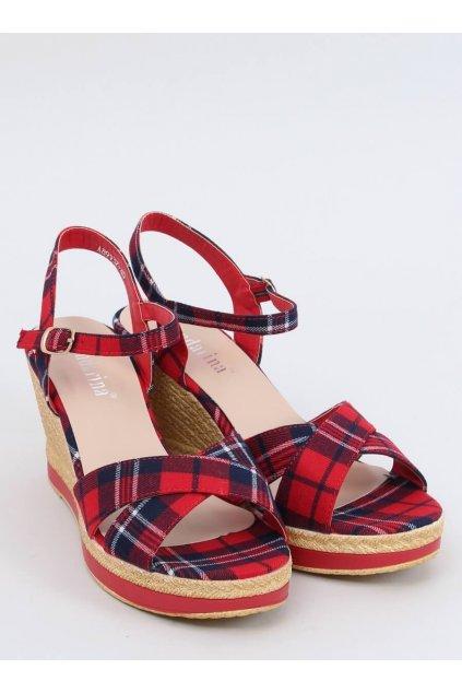 Dámske sandále červené na platforme NJSK A89937