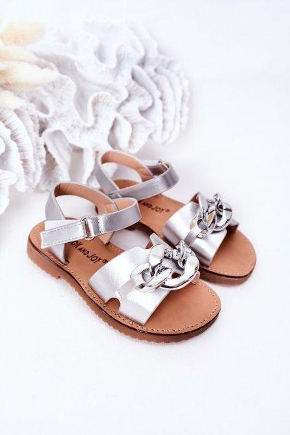 Detské sandále farba sivá NJSK 290-C SILVER