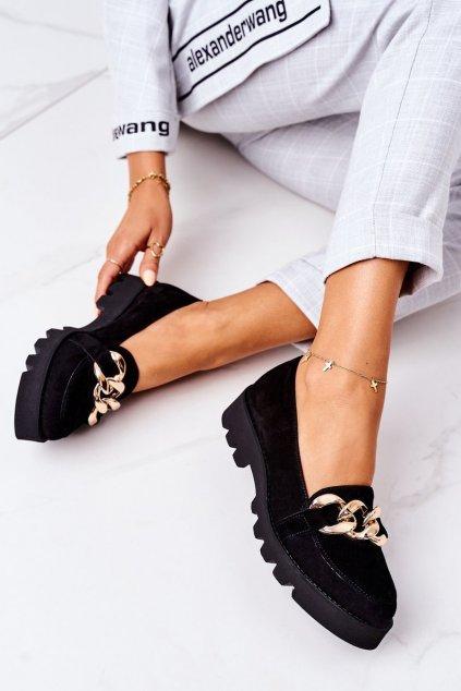 Dámske mokasíny farba čierna kód obuvi 3040 CZARNY ZAMSZ