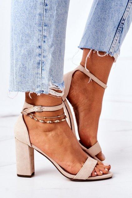 Dámske sandále farba hnedá kód obuvi CD59 BEIGE