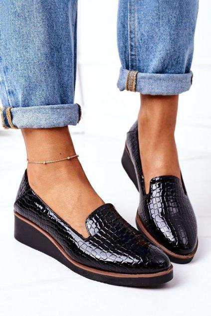 Dámske poltopánky farba čierna kód obuvi 21-10675 BLACK