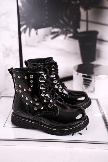 Detské čierne členkové topánky NJSK H10NW