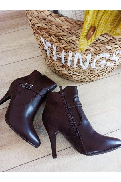 Elegantné hnedé topánky s vysokým opätkom NJSK 54455BR / L45