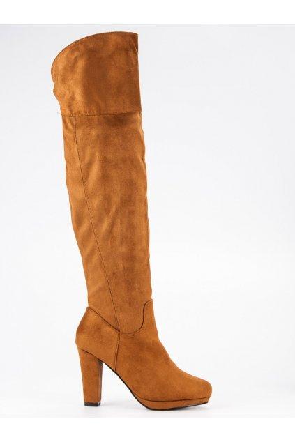 Semišové kozačky béžové čižmy nad kolená CnB