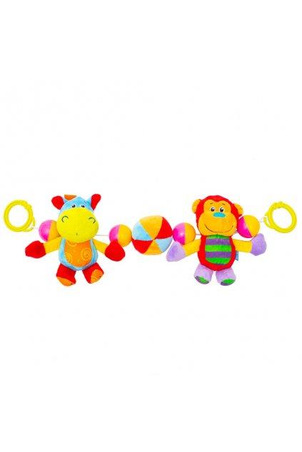 Detská plyšová hrkálka do kočíka Baby Mix hrošík a opička