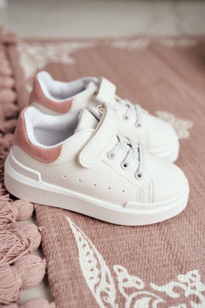 Detská športová obuv na suchý zips Ružovo-biela NJSK 876-3C White/Pink