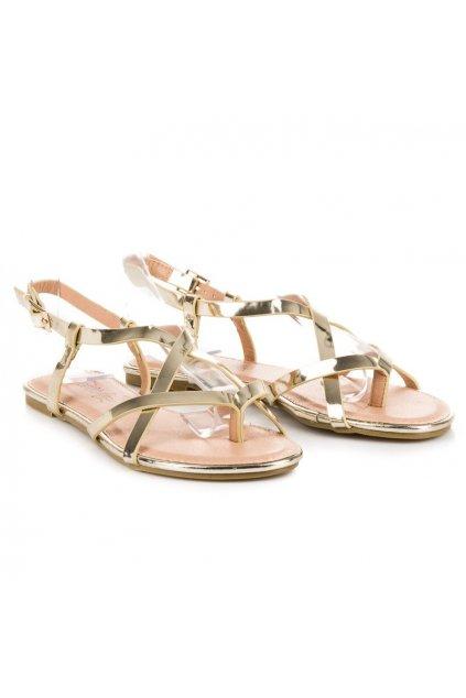Zlaté ploché sandále NJSK 40SD76380GO