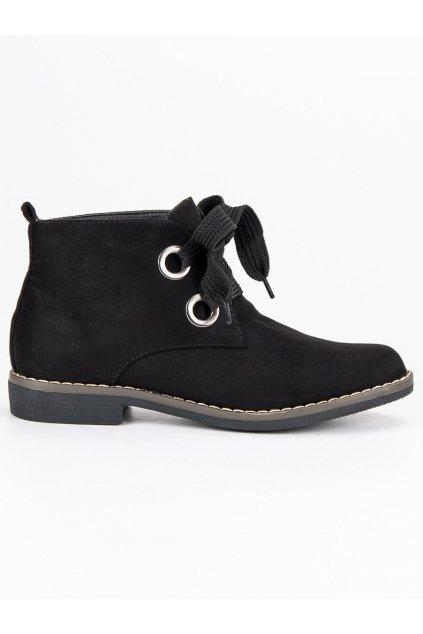 Semišové topánky čierne členkové topánky na jeseň Super Mode