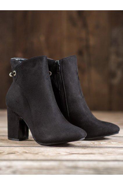 Čierne dámske topánky NJSK T2166B