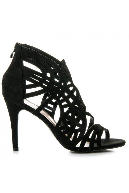 Čierne sandále na zips NJSK 100-729B