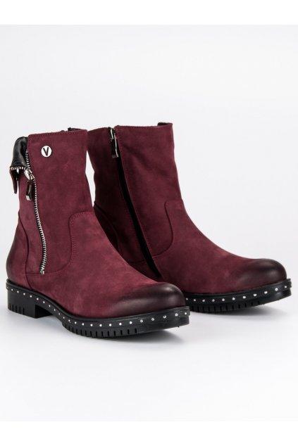 Bordové kožené topánky na zimu NJSK 1266/5DR.FU