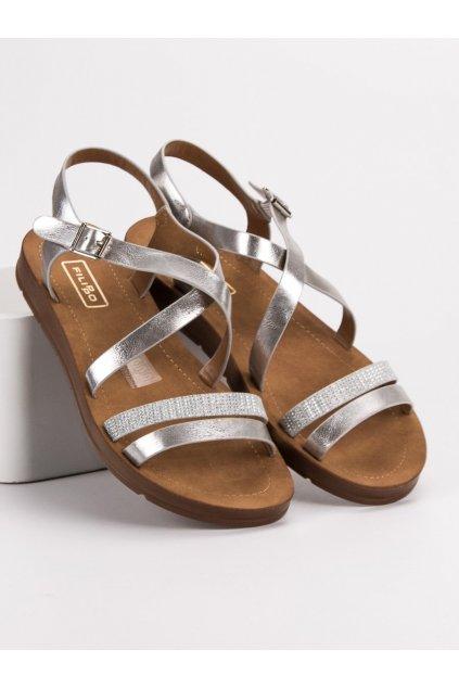 Strieborné sandále s kryštálmi Filippo