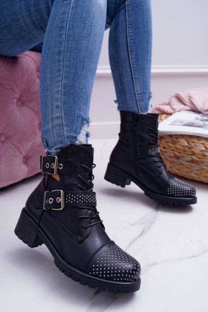 Dámske členkové topánky čierne NJSK M257