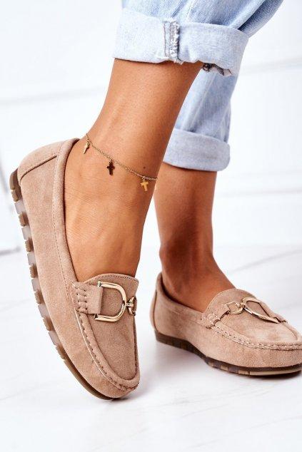 Dámske mokasíny farba hnedá kód obuvi GS19 KHAKI