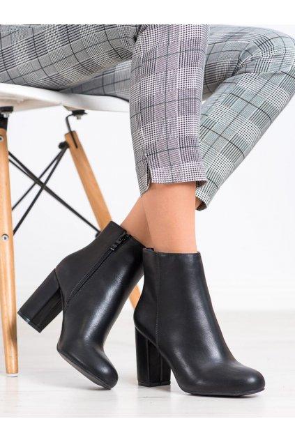 Čierne dámske topánky NJSK L7192B