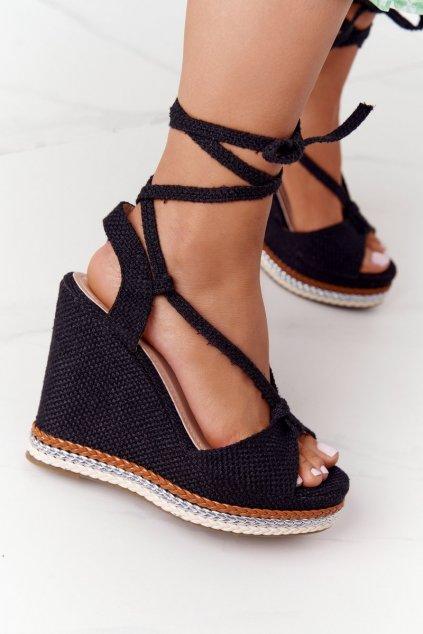 Dámske sandále farba čierna NJSK K-16 BLACK