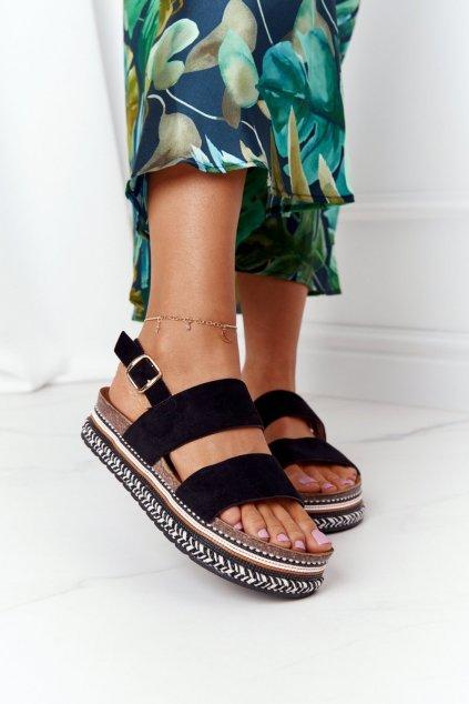 Dámske čierne sandále NJSK 7857