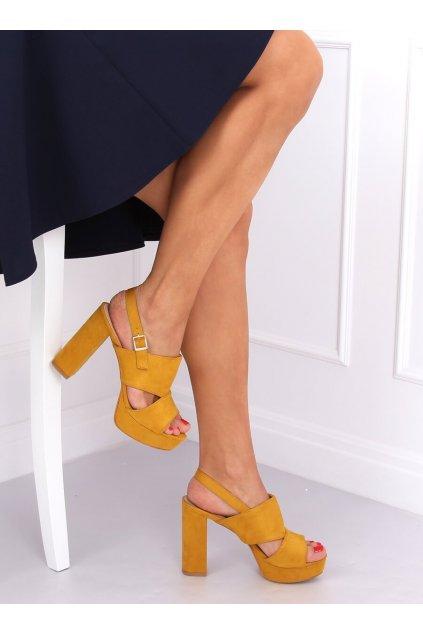 Damske sandále žlté na stĺpovom podpätku 9R02