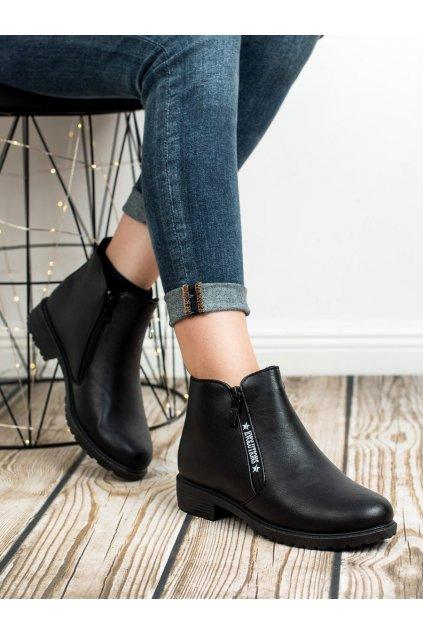 Čierne topánky na podpätku NJSK NB223B