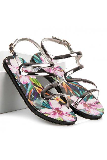 Strieborné nízke sandále Vinceza TRE17-11508S